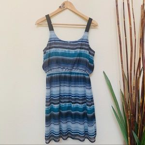 Xhilaration Blue Gray Black Striped Dress Sz Large
